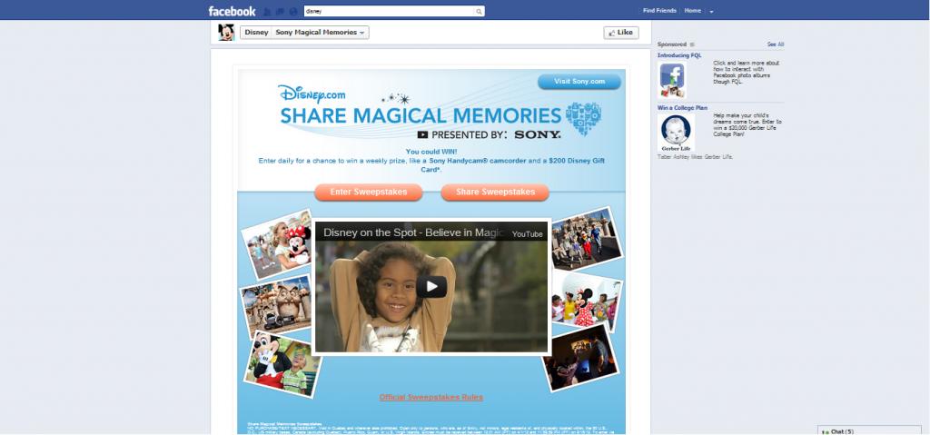 Facebook landing page optimization - disney