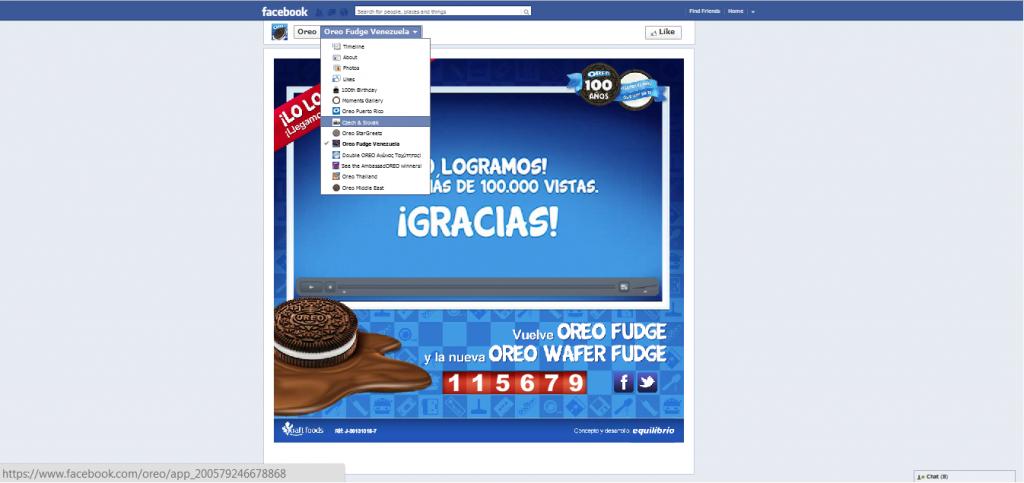 Facebook landing page optimization - oreo